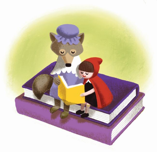 Book characters reading book