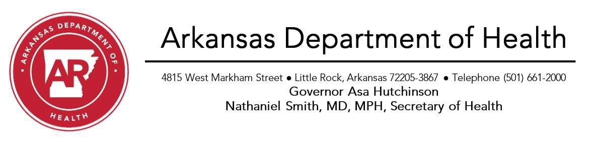 graphic Arkansas Department of Health logo and info