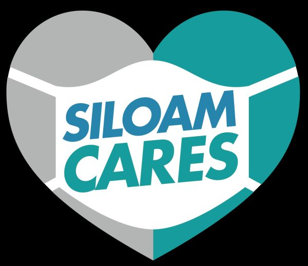 graphic for SiloamCares- the words SiloamCares on a mask over a heart