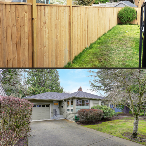 privacy fence in a grassy backyard and driveway in front of a small home