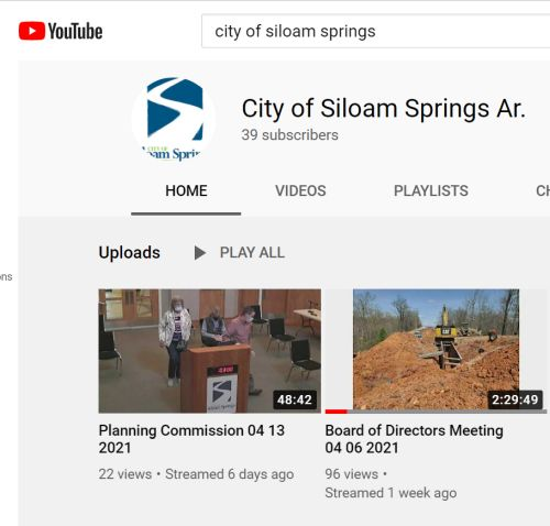 snip of the City of Siloam Springs YouTube page
