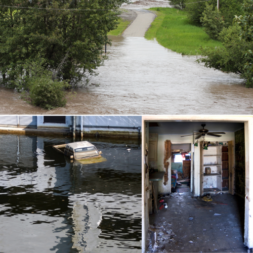 collage of flood damage, flooded street w/ pavement falling, water in a hallway, car stranded